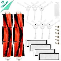 Accessoires pour le robot aspirateur Xiaomi Mi - 6 brosses latérales, 4 filtres HEPA, 2 brosse principale, 6 vis,1 outils de nettoyages, Kit de 19 Pièces de rechange Mijia Roborock S50 S51 Robock2
