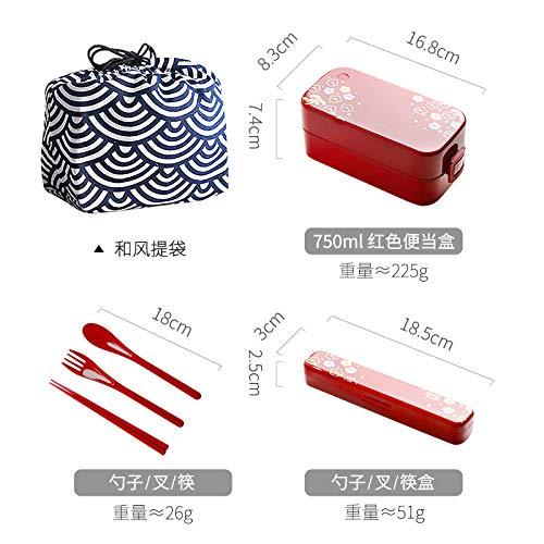 Fzicol Bento BoxenDouble-Layered Lunch Box Büroangestellter Mikrowelle Diät-Box abgestuftes Frühstück Brotdose süßes Mädchen