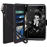 Coque LG Q8, LK Housse Coque Protecteur Clapet Portefeuille Cuir PU Luxe avec Fentes et Support de Carte pour LG Q8 - Noir