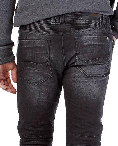 Red Bridge Herren Jeans / Straight Fit Jeans Quilted Schwarz