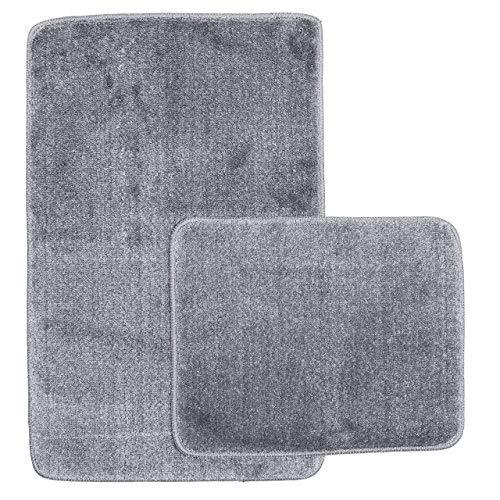 Sentidos Badematte Grau Set Kuscheliger Hochflor antirutsch Rutschfester Badteppich Öko-Tex 100 Zertifiziert Badgarnitur Dusch-WC Badvorleger (2 teilig Set 50X80 cm und 40X50 cm)