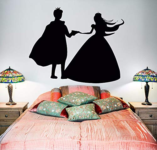 Vinyl Wandbild Prinz Und Prinzessin Märchen Vinyl Wandaufkleber Liebe Paar Stil Wandtattoo Home Schlafzimmer Dekoration 57x45 cm