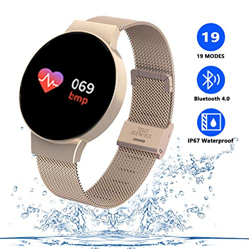 TZLong Reloj Inteligente Mujer Niña,Smartwatch con Pulsómetro Pulsera Actividad Inteligente Multifuncion Pulsómetros Podómetro Reloj Deportivo Monitor de Sueño para Android iOS iPhone