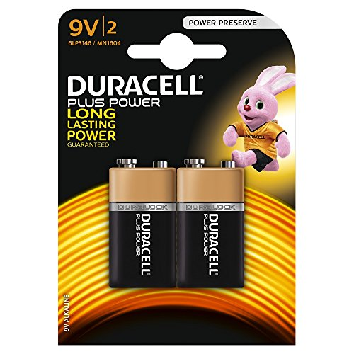 Duracell Plus Power Typ 9V Alkaline Batterien, 2er Pack