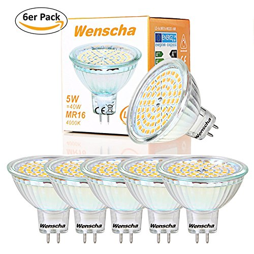 Wenscha 6er Pack 5W MR16 GU5.3 LED Lampe, Warmweiß 2800K, Ersetzt 40W Halogenlampe, AC DC 12V, 120° Abstrahwinkel, Flimmerfrei, LED Spot Leuchtmittel Energiesparlampe, LED-Reflektorlampe, Nicht Dimmbar (6er 5W Warmweiss) - Mr16 Lampe
