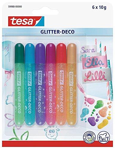 TESA Glitter-Deco - 6 Glitzer-Stifte in Pastellfarben für kreatives Dekorieren auf vielen...
