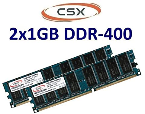 CSX Memory: 2GB Dual Channel Kit 2 x 1GB 184 pin 400Mhz DDR - 400–PC - 3200–CL3) Non-Ecc unbuffered for motherboards DDR1–100% Compatible with PC - 2700 333Mhz, 266 MHz PC - 2100