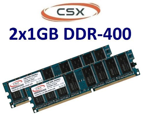 CSX-Memory: 2GB Dual Channel Kit 2 x 1 GB 184 pin DDR-400 (400Mhz, PC-3200, CL3) NON ECC, unbuffered für DDR1 Mainboards - 100% kompatibel zu 333Mhz PC-2700 und 266Mhz PC-2100