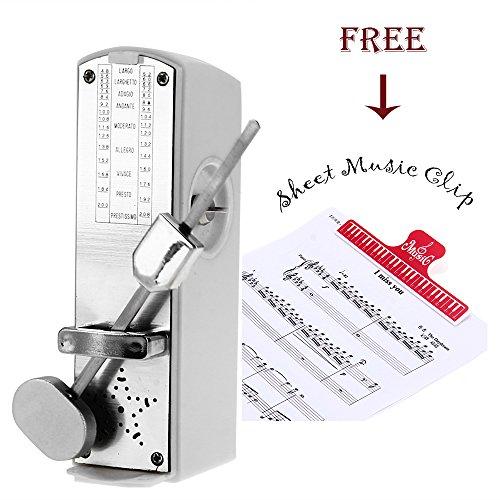 Zimo® Mechanisches Universal Metronom Taktgeber super mini Timer Takt Tempo mit Glocke Notenhalter als Geschenke weiß