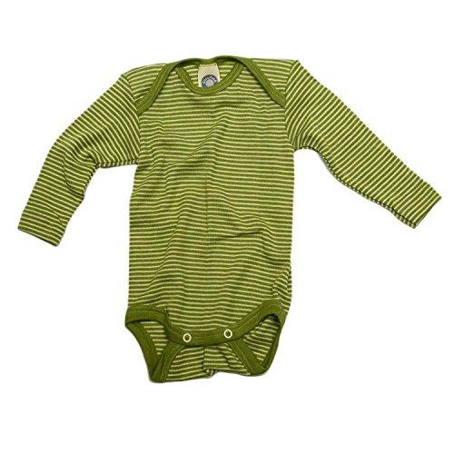 Cosilana Baby Body Wollbody®, Größe 74/80, Farbe geringelt Grün-Natur - Wollbody®GmbH
