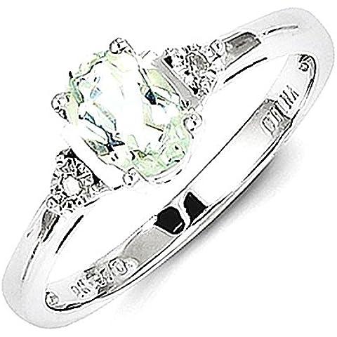 Sterling Silver Diamond & Verde Quarzo Anello