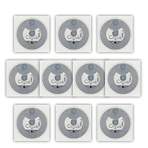 10 NFC Tags Sticker NTAG213 - 144 Byte - Circus Ø22mm - transparent