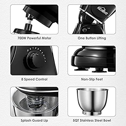 Kchenmaschine-Kealive-Teigknetmaschine-1200W-8-Geschwindigkeit-Edelstahl-Knetmaschine-Multifunktional-Rhrmaschine-45L-Rhrschssel-mit-Knethaken-Schlagbesen-Rhrbesen