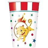 Unique Party 72476 - Copas de papel para fiesta de carnaval de circo (9oz), paquete de 8
