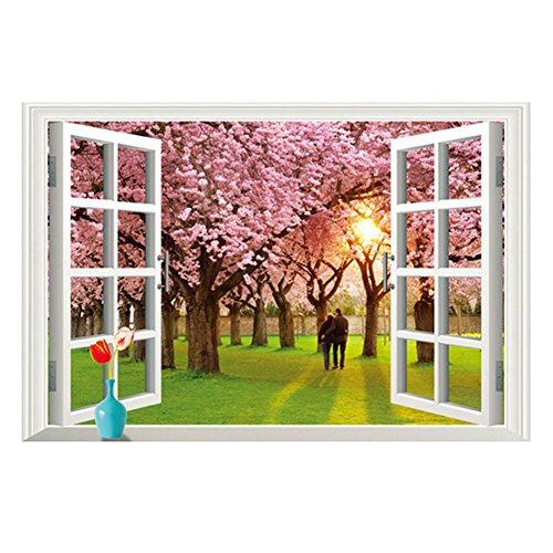 Dosige 1 Pcs Romántico árbol 3d falso paisaje ventana pegatinas de pared verde extraíble pegatinas de pared Pegatinas de pared decorativas Fondo de pantalla de dormitorio Rosa 60*90cm