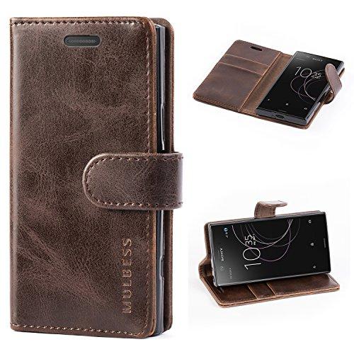Mulbess Handyhülle für Sony Xperia XZ1 Compact Hülle, Leder Flip Case Schutzhülle für Sony XZ1 Compact Tasche, Vintage Braun