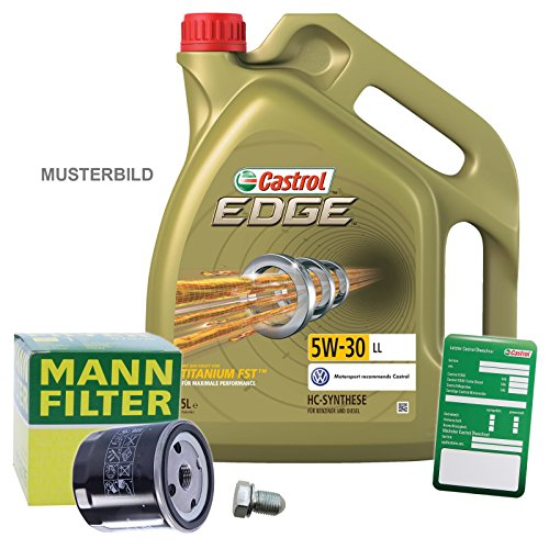 1x Ölwechsel Set - MANN-FILTER ÖLFILTER + 5 L CASTROL EDGE TITANIUM FST 5W-30 LL