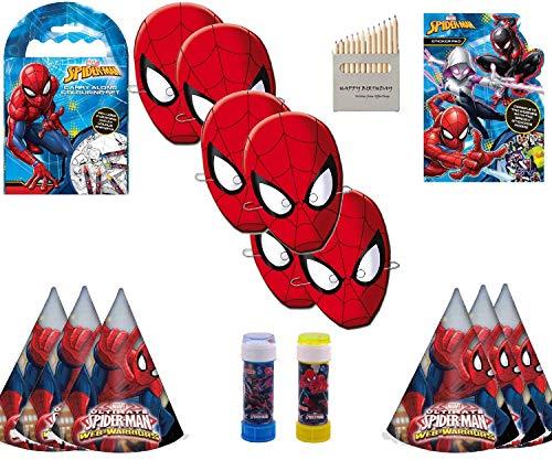 SPIDERMAN'S Boys Ideale Spielzeugkiste Spiderman-Gesichtsmasken, Spiderman Bubble Tub, Spiderman Web Warriors-Hüte, Spiderman Carry Along Coloring Set und Spiderman Shaped Sticker Pad