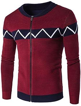 HY-Sweater Otoño y Invierno 's Fashion Trend Fácil Hombres Grosor Chaqueta de Punto Jersey, Rojo Vino, Extra-Large
