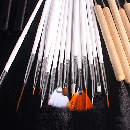 Andux 20 tlg. Nail Art Set:15 Nail Art Pinseln+5 Stück Dotting Nagelstudio tool/MJBS-01