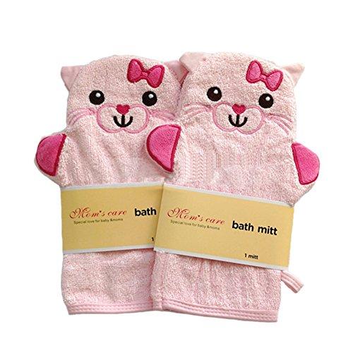 Ensemble de 2 molle bille de bain / joli bain mitt, chat rose