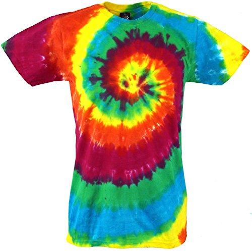 GURU-SHOP, Camiseta Rainbow Batik, Camiseta Manga Corta Hombre, Spiral 3, Algodón, Tamaño:M, Camisetas Batik