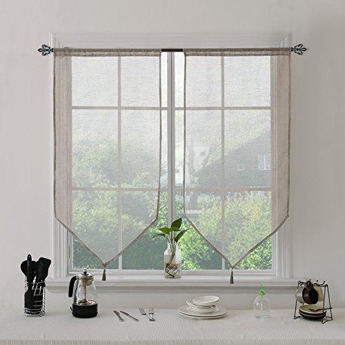 Deconovo tende trasparenti per finestre tendine in poliestere con frangia 60x90 cm lino 2 pannelli