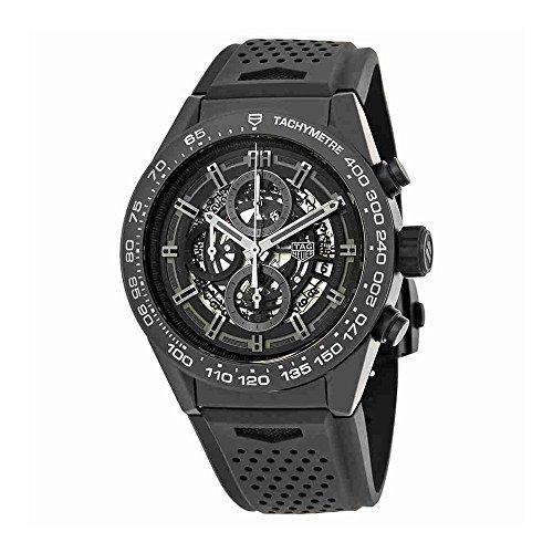 TAG Heuer Carrera mate negro cerámica en correa de caucho reloj para hombre car2a91. ft6071