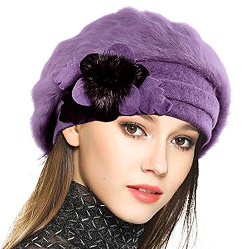 VECRY Mujeres Lana Boinas Angola Gorro Casquete Invierno Sombrero (Púrpura)