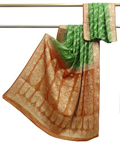 Indian Jahrgang 100% reine Seide Saree grün gewebt verwendet Sari Handwerk Stoff 5 yard