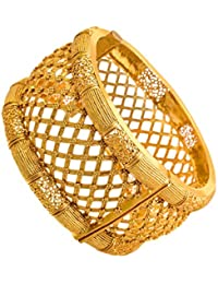 JFL - Traditional Antique Ethnic One Gram Gold Plated Openable Kada With Jali Work For Women & Girls.