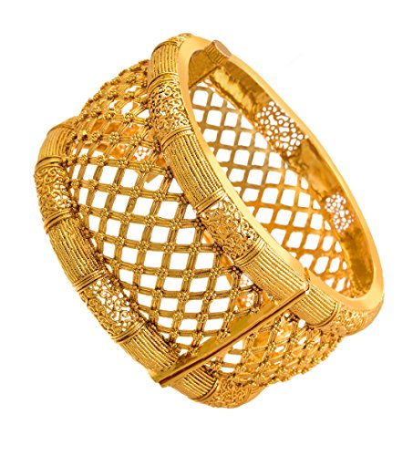 Jfl - Jewellery For Less Traditional Antique Ethnic One Gram Gold Plated Openable Jali Work Kada Bangle For Women