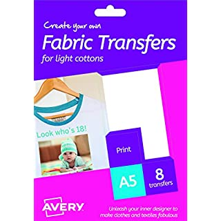 Avery HTT01 Printable Fabric Transfers for Light Cottons, 1 transfer Per A5 Sheet