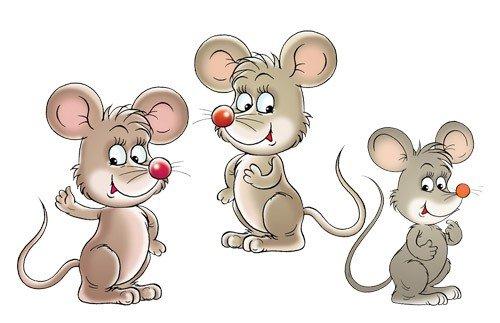 Apalis Wandtattoo No.73 Mäuse Set Tiere Nagetiere Maus Kinder Comic Tiere -