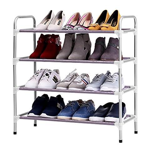 Finether Empilable Adjustable 4-Tier Porte-Chaussures de Stockage Organisateur de Rangement Etagère à chaussures pour Entrée Closet Salon Chambre à