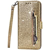 Fanxwu Cover Compatible con Funda iPhone 11(6.1'') Glitter Brillante PU Cuero Cartera con Cremallera y Ranura Tarjetas Libro Tapa Flip Case - Oro
