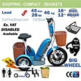 carfreeshop customIZED INDEPENDENCE1301Bask SENIORS ELECTRIC powered mobility scooter with 2BASKETS, SEAT, to get GO OUT, and access FOOTPATH/PAVEMENT, 3 BIG WHEELS 12-16inch, lead-acid battery cold resistant, 500W, Range 45 km, compact-light, SHOPPING, groceries, travel, walker, safe, ergonomic, wheelchair, confort saddle, RETIRED-MEN-WOMEN arthrosis disabled kerb, white, black, orange, red, yellow best sale 2017