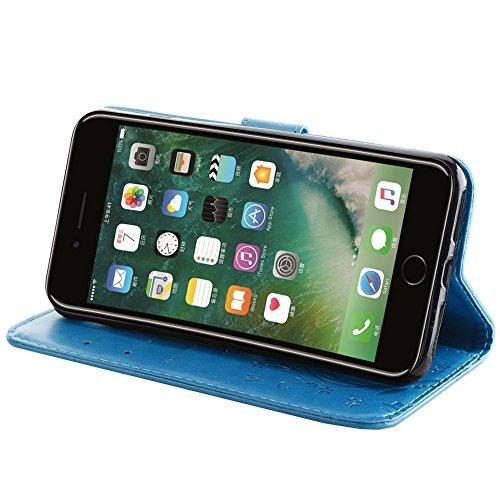 UKDANDANWEI Apple iPhone 7 Plus Hülle ,Muster Flip Wallet Case,Lanyard Strap Leather Stand Handyhülle Portable Lederhülle Anti-Scratch [ID Card Slot] Magnetverschluss Soft Silikon Cover TascheFolio Ha Azurblau