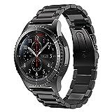 iBazal Gear S3 Armband Metall, Gear S3 Frontier/Classic Armband 22mm Edelstahl Band Kompatibel Samsung Gear S3 Frontier/Classic, Samsung Galaxy Watch 46mm [Klassischer Style] - Schwarz