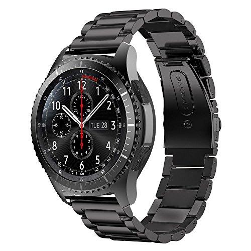 iBazal Gear S3 Bracelet, Gear S3 Frontier/Classic Bracelet de Montre 22mm Watch Band Acier Inoxydable Band pour Samsung Gear S3 Frontier/Classic SM-R760, Samsung Galaxy Watch 46mm - Mode Noir
