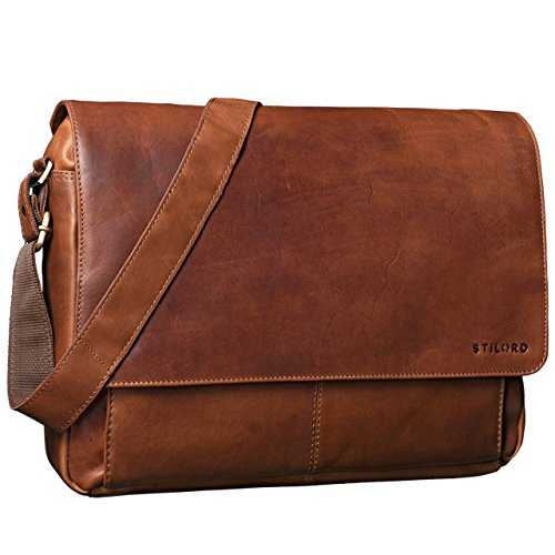 STILORD 'Lonzo' Vintage Umhängetasche echtes Büffel-Leder Messenger Bag für Herren und Damen Unitasche Büro Business Studium Leder, Farbe:braun cognac - braun