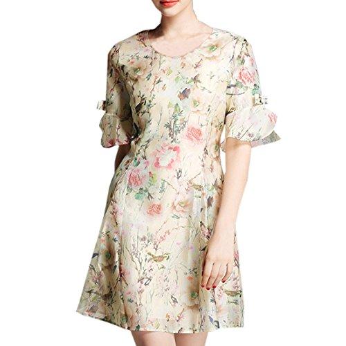 partiss Fashion Slim Fit Femme Fleur d'Impression robe en mousseline de soie à manches courtes Beige