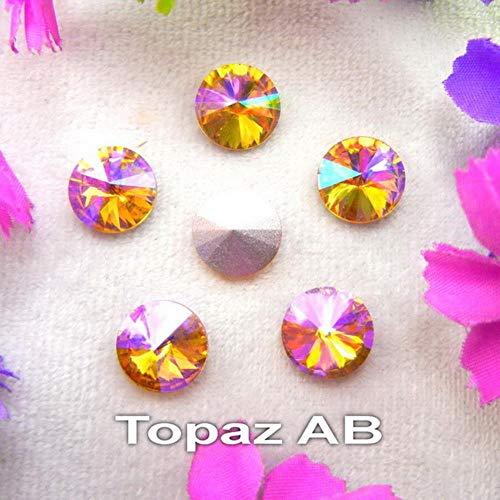 PENVEAT Farben AB 6mm 8mm 10mm 12mm 14mm 16mm 18mm runde Form Glaskristall Kleber auf Rhinestone Perlen Zubehör DIY Trim, A4 Topaz AB, 18mm 20pcs -