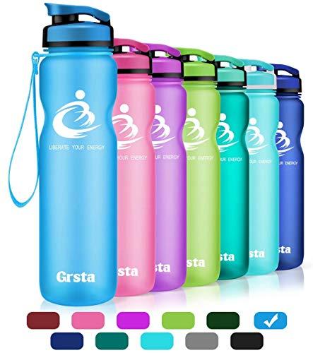 Grsta Sport Trinkflasche 32oz-1000ml - Wasserflasche Auslaufsicher, Eco Friendly BPA Frei Tritan Kunststoff Flaschen mit Frucht Filter, Sporttrinkflasche für Kinder, Gym, Yoga, Camping, Büro (Blau)