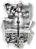 Monocrome, Großstadt Fernsehturm, Berlin City Papier im 3D-Look, Wand- oder Türaufkleber Format: 92x62cm, Wandsticker, Wandtattoo, Wanddekoration