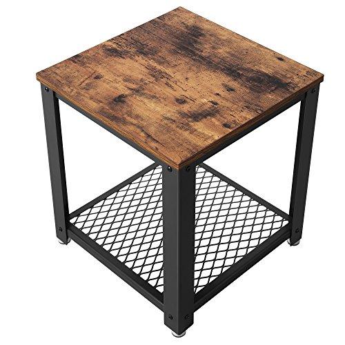 SONGMICS Beistelltisch, Vintage Nachttisch, Kaffeetisch mit Stauraum, stabil mit Metallbeine, einfache Montage LET41X