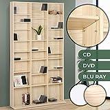 Jago CD-Regal aus Holz mit Platz für bis zu 1.080 CDs | 180x102x23 cm, Farbauswahl | CD-Ständer,Wandregal,CD Holzregal, Standregal (Buche)