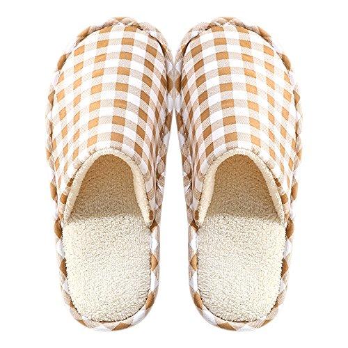 Di Calde Pantofole D'inverno Donne Pantofole Scarpe Uomini Casa E Comode Felpa Cotone Marroni Bozevon w4tXTq