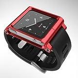 Kepuch Apple iPod Nano 6 6nd 6G 6Th Aluminum Metall beobachten Handwurzel Kit Tasche Smart Case Cover Lederhülle Schutzhülle hüllen Für Apple iPod Nano 6 6nd 6G 6Th,Rot