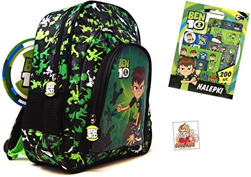 2tlg Ben 10 - Super Set - Rucksack für Freizeit, Sport oder Kindergarten (31x27x12cm) mit 2 Seiten-Netzfächer + 200 Ben 10 Sticker - Ben Rucksack 10